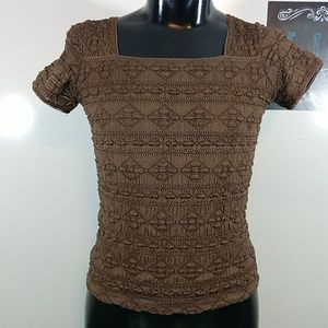 East 5th Brown Smocked Stretch Shirt